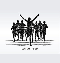 winner marathon running with crowd vector image