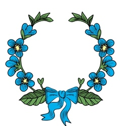 wreath with flowers vector image