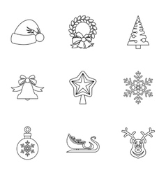 Xmas icons set outline style vector image