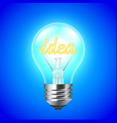 Idea concept with light bulb on blue background vector