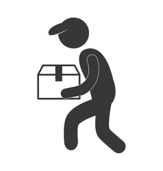 delivery man with cap box figure pictogram vector image