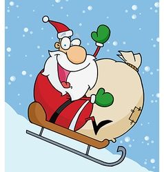 Santa waving and sledding with his toy sack vector