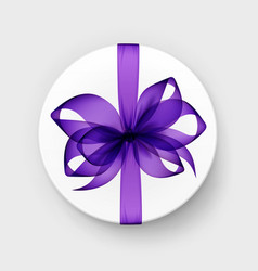 round gift box with purple bow and ribbon vector image