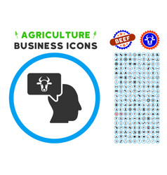 Cow thinking person rounded icon with set vector