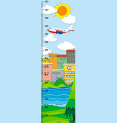Height measurement chart with city buildings in vector