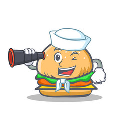 Sailor burger character fast food with binocular vector