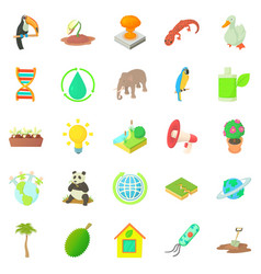 Biology icons set cartoon style vector