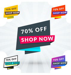 Set of discount and promotional sale origami vector