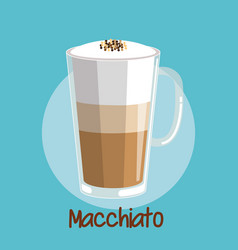 Macchiato iced coffee frothed milk in glass cup vector