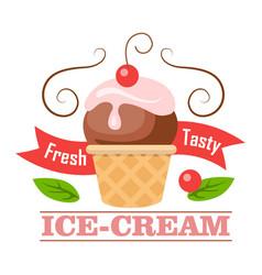 Fresh tasty ice-cream icon logo icecream in cone vector