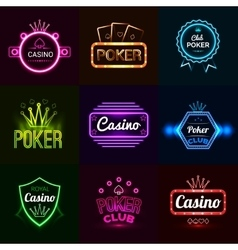 Neon Casino Emblems vector image