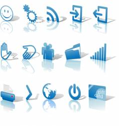web blue icons set vector image