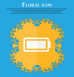 Battery fully charged floral flat design on a vector