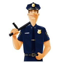 Policeman with truncheon vector