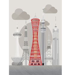 Japan kobe port tower vector