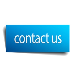 Contact us blue square isolated paper sign on vector