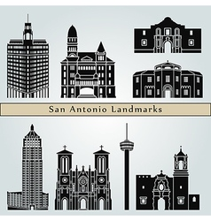 San Antonio landmarks and monuments vector image