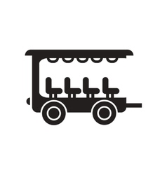 Flat icon in black and white style trailer car vector
