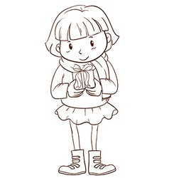 A plain sketch of a girl holding a christmas gift vector