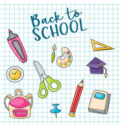 Back to school doodle clip art greeting card vector