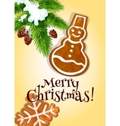 Christmas gingerbread cookie for postcard design vector image vector image