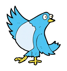 Comic cartoon dancing bluebird vector