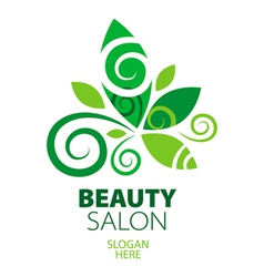 composition of green leaf logo for beauty salon vector image
