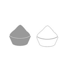 Cupcake grey set icon vector