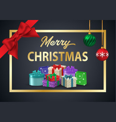 decorative poster merry christmas the inscription vector image vector image