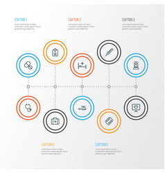 Drug outline icons set collection of case copter vector
