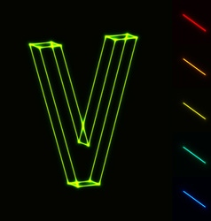EPS10 glowing wireframe letter V - easy to change vector image