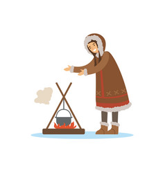 Eskimo inuit chukchi woman character in vector