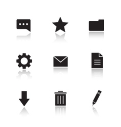File manager drop shadow icons set vector image vector image