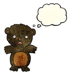 Frightened black bear cartoon with thought bubble vector