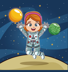 Girl astronaut on planet cartoon vector