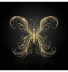 Gold swirl pattern in shape of a butterfly vector image