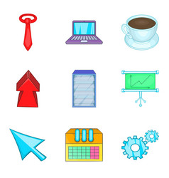 Great project icons set cartoon style vector