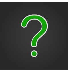 Green Question Mark with shadow on black vector image vector image