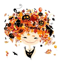 Halloween holiday design female head vector