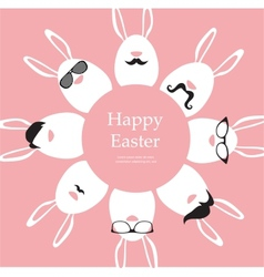 Happy Hipster Easter - set of stylish bunnyeggs vector image vector image