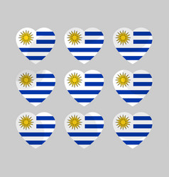 Heart icons with the flag of uruguay vector