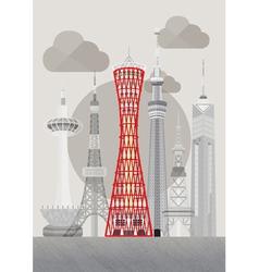 Japan kobe port tower vector