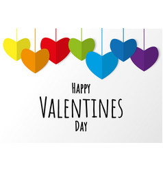 lgbt folding paper heart rainbow colors with vector image