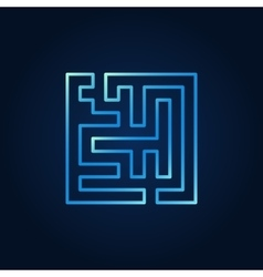 Line maze blue icon vector