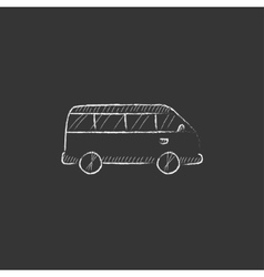 Minibus drawn in chalk icon vector