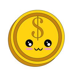 Money coin isolated kawaii cartoon vector