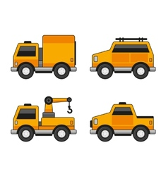 Orange Car Icons Set vector image vector image