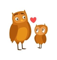 Owl dad animal parent and its baby calf parenthood vector