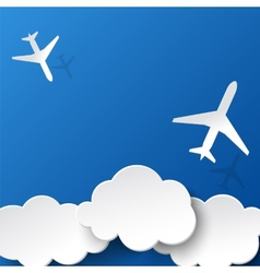 Paper airplanes and clouds vector image vector image