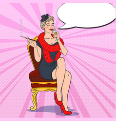 pop art smoking woman with glass of champagne vector image